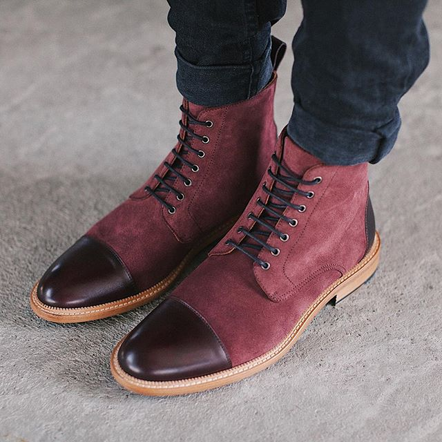 Hot Sale Handmade Color Stitching Suede Ankle Boots