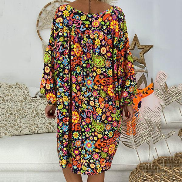 Short?Sleeve Printed V Neck Loose Dress