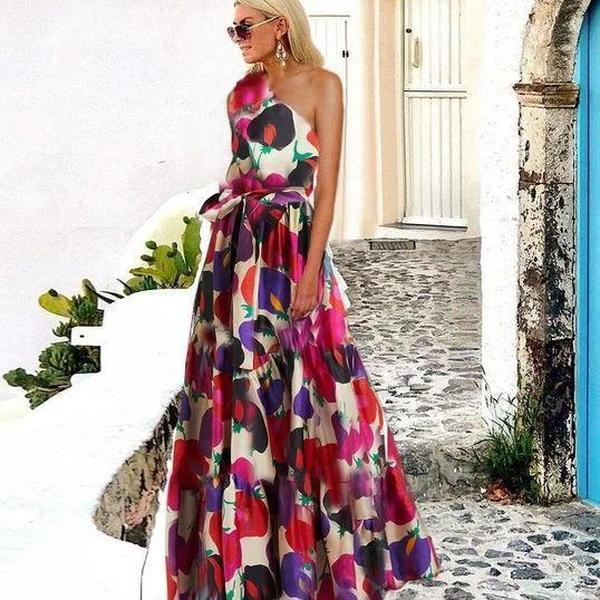 Elegant One Shoulder Sleeveless Printed Maxi Dress