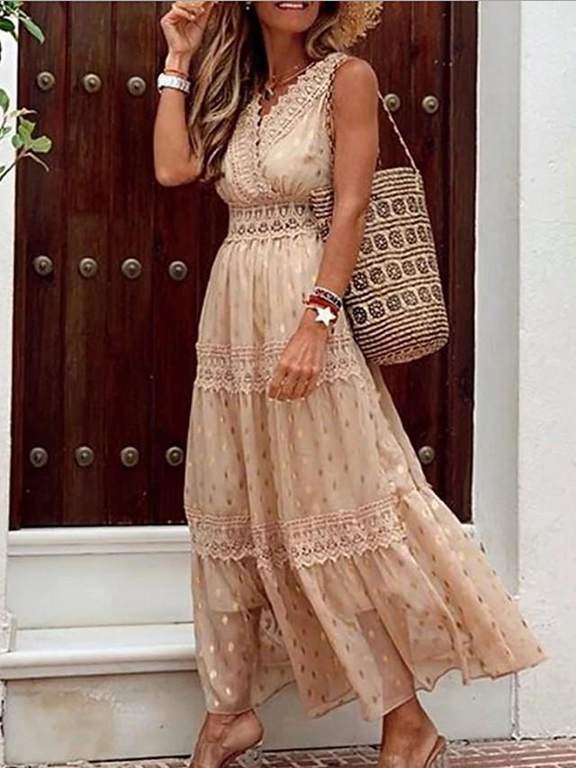 Women's A-Line Dress Maxi long Dress - Sleeveless Solid Color Summer Casual 2020 White Yellow Blushing Pink Khaki Light Blue S M L XL