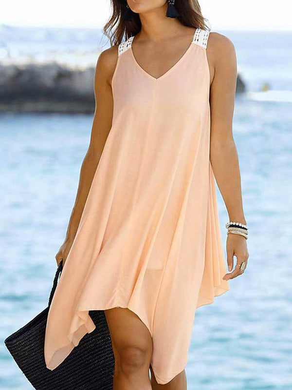 Women's A-Line Dress Knee Length Dress - Sleeveless Solid Color Summer Work Sexy 2020 Light Brown Black Blushing Pink S M L XL