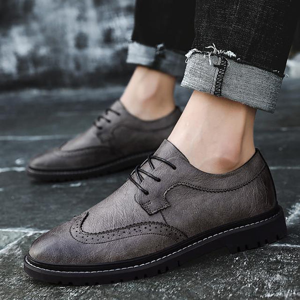 Men's Summer / Fall Business / Vintage / British Daily Office & Career Oxfords Nappa Leather Breathable Non-slipping Wear Proof Black / Khaki / Gray