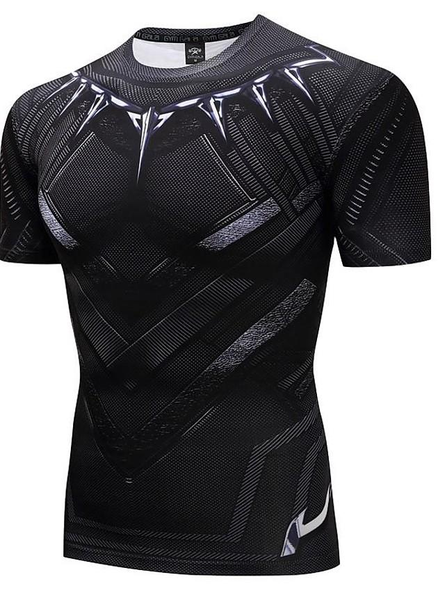 Men's 3D Graphic Print Slim T-shirt Active Punk & Gothic Daily Sports Going out Round Neck Black / Summer / Short Sleeve