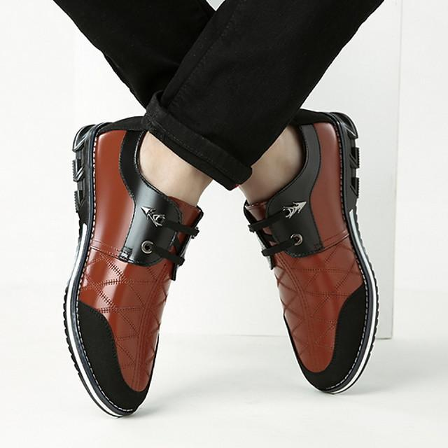 Men's Derby Shoes Fall / Winter Casual / British Daily Oxfords Cowhide Wear Proof Blue / Brown / Black Color Block