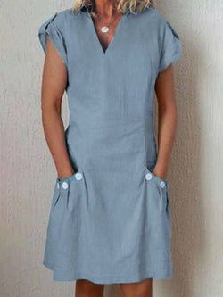 Shift Cotton-Blend Casual Paneled Casualdress