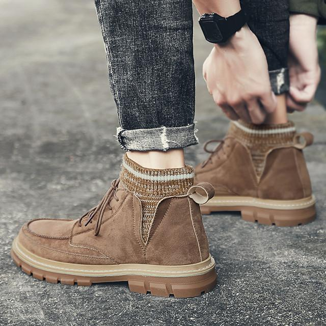Men's Casual Daily Boots Walking Shoes PU Breathable Non-slipping Wear Proof Almond / Black / Brown