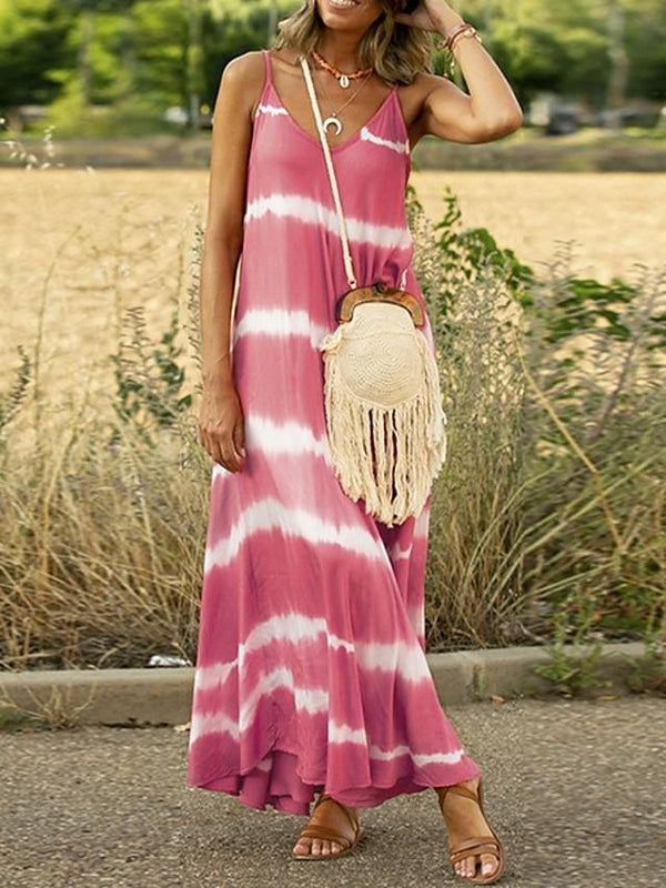 Women's A-Line Dress Maxi long Dress - Sleeveless Striped Summer Casual 2020 Blue Purple Blushing Pink Orange Green Gray S M L XL XXL XXXL XXXXL XXXXXL