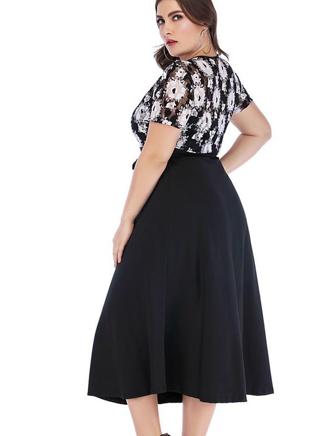 Women's A-Line Dress Midi Dress - Short Sleeve Solid Color Summer Casual 2020 Black XL XXL XXXL XXXXL XXXXXL