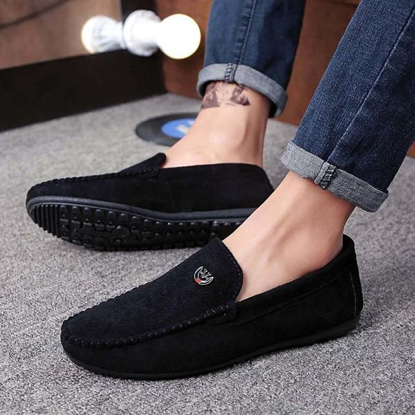 Men's Summer / Fall Casual / Vintage Daily Office & Career Loafers & Slip-Ons Walking Shoes Suede Breathable Wear Proof Black / Red