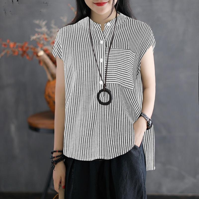 Women Summer Blouse Work Solid Cotton Linen Shirt Casual Short Sleeve Tops Camisas Mujer Plus Size Blouse