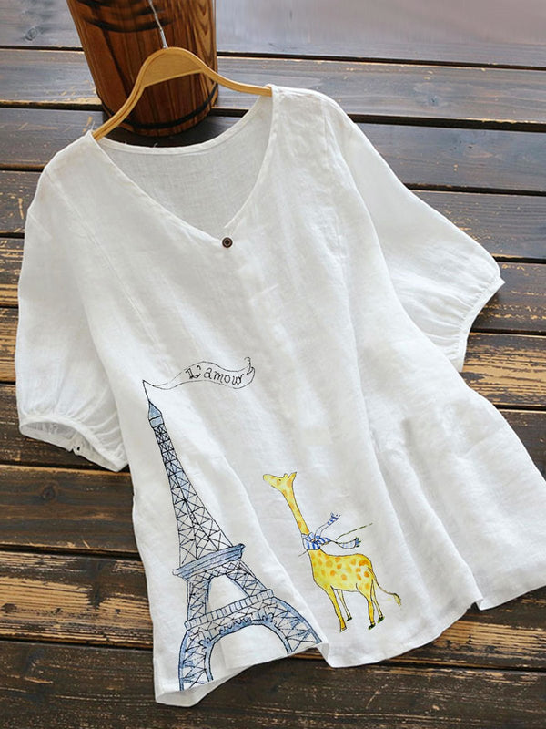 White Short Sleeve Cotton-Blend Cartoon Shirts & Tops