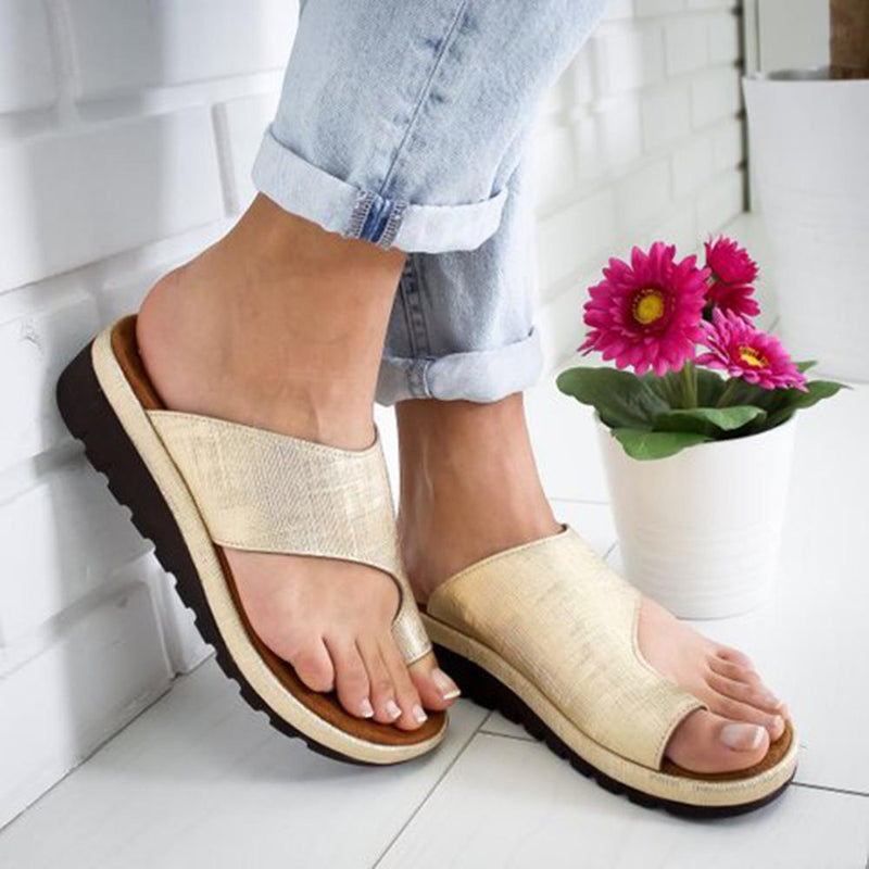 Women's PU Leather Dating Flat Sole Slip-On Sandal