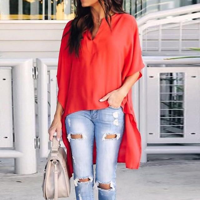 Women Elegant Fashion Irregular V-Neck Chiffon Soft Tunic Solid Batwing Sleeve Blouse Tops