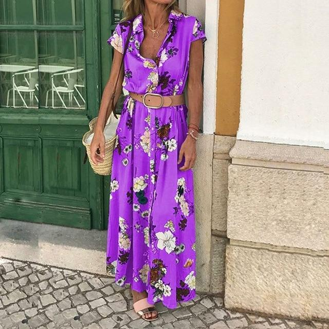 Women Floral Printed Short Sleeve Boho Sundress V-neck Party Dress