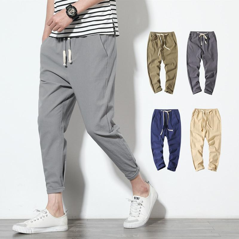 Men's Summer Streetwear Cotton Linen Joggers Harem Pants Solid Fitness Casual Ankle-Length Trousers