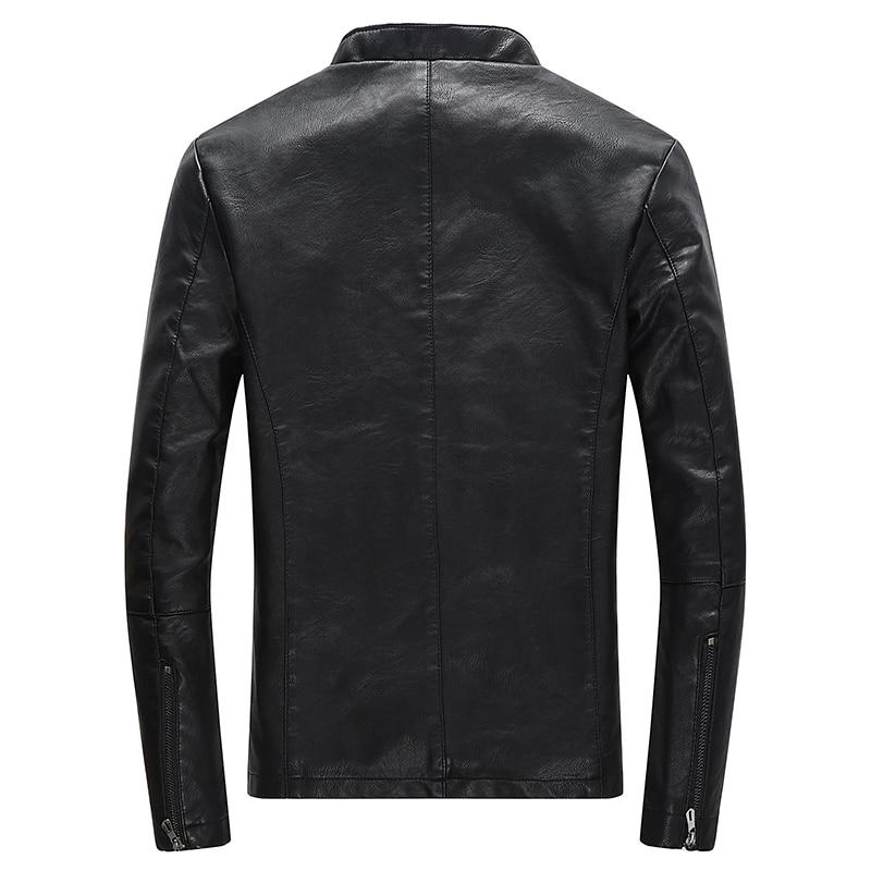 Men's Casual Zipper PU Leather Jacket Motorcycle Leather Jacket Men Leisure Clothing Men's Slim Leather Jacket