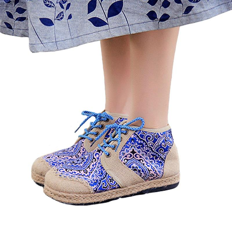 Embroider Shoes Women Ankle Boots For Women Flat Comfortable Lace-Up Shoes