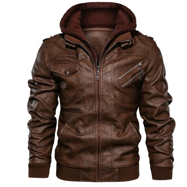 Men's Leather Jackets New Casual Motorcycle Removable Hood Winter PU Zipper Jacket Leather Coats