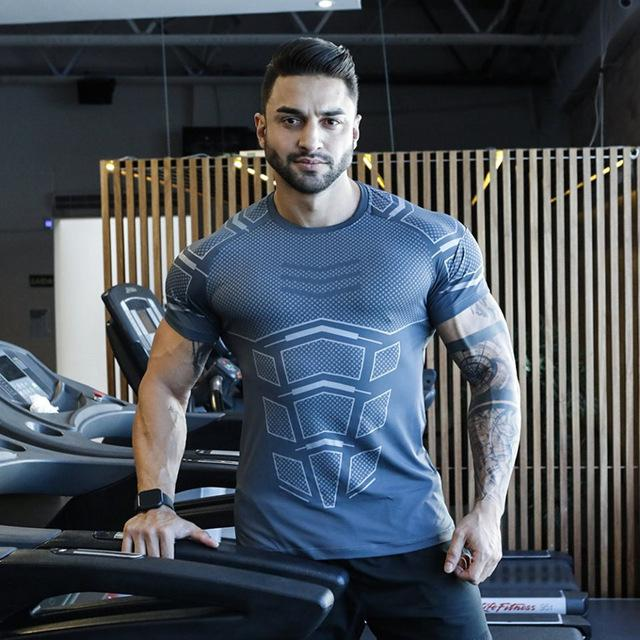 Mens T-shirt Sporting Tee Shirt Male Gyms Fitness Bodybuilding Workout Black Tops Quick dry Clothing