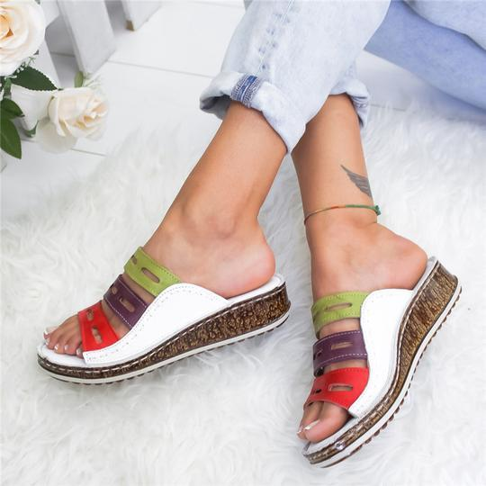 Women Three-color Stitching Casual Low Wedge Heel  Peep Toe Sandals Slippers Shoes