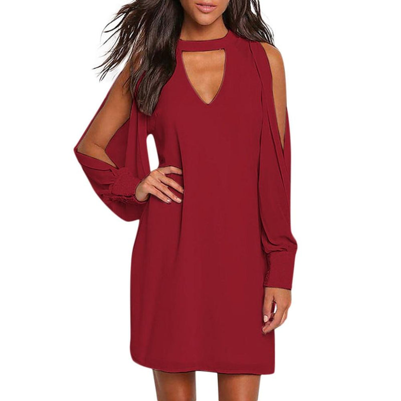 Women  Button Long Sleeve V Neck Off Shoulder Dress