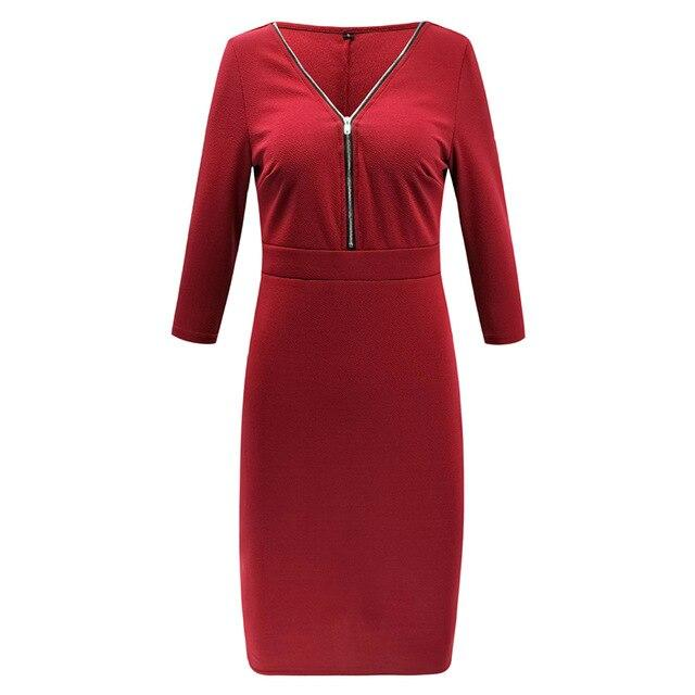 Zipper V Neck Women Bodycon Office Dress