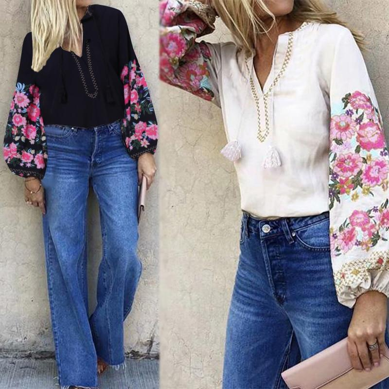 Women Elegant Puff Sleeve Fashion Printed Bohemian V Neck Casual Floral Blouse Tops