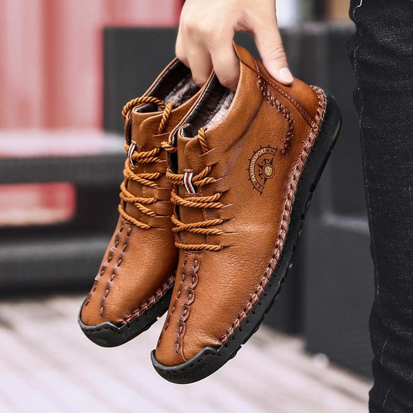 Warm Mens Boots Working Tactical Boots Split Leather Ankle Boots Plush Snow Boots Lace-up Winter Shoes