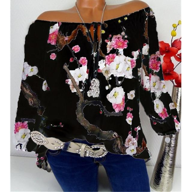 Women's Large size Blouse Lantern Sleeve Shirt Loose Casual Tops