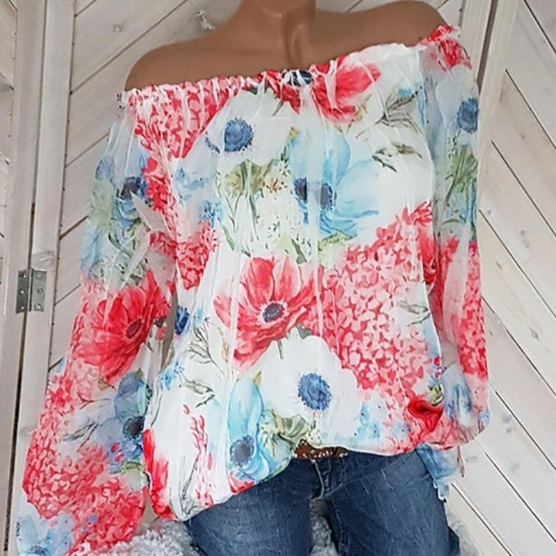 Women Casual Sexy Slash Neck Chiffon Blouse Long Sleeve Floral Print Tops