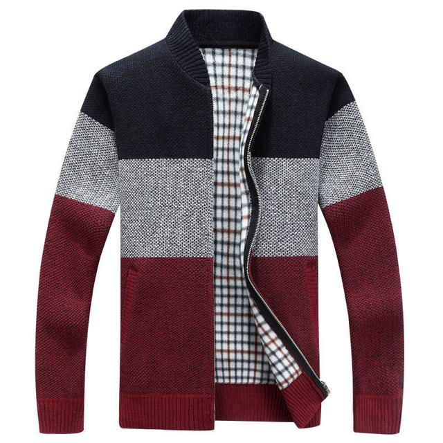 Men Thick Cardigan Coats Gradient knitted Zipper Jackets