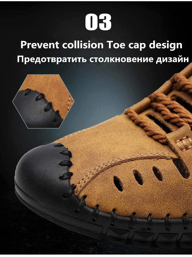 Men Genuine Leather Sandals Business Casual Shoes Men Outdoor Beach Sandals