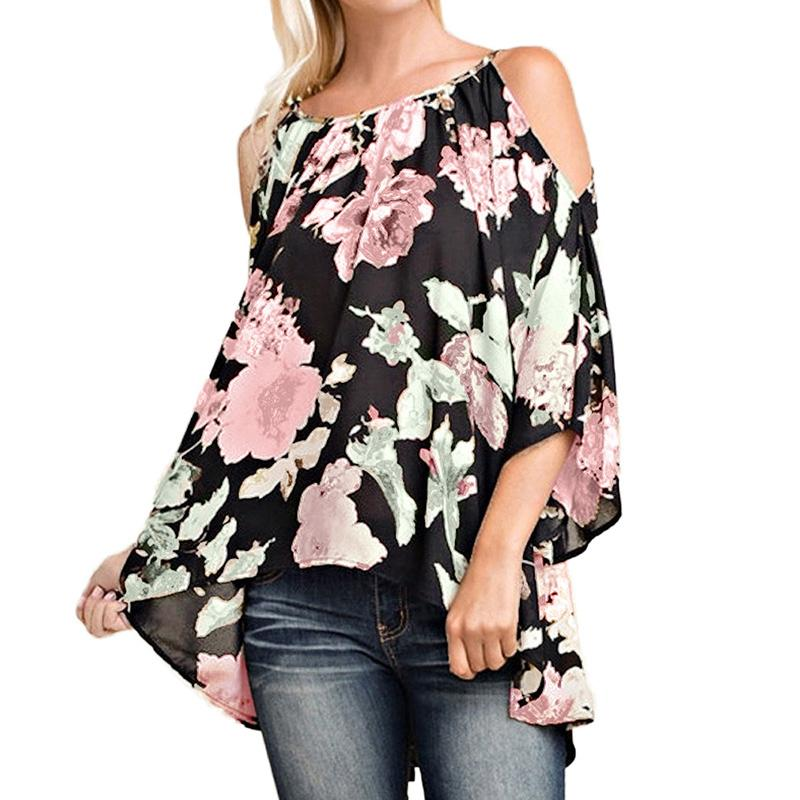 Women Off Shoulder Shirts Boho Floral Print Tunic Plus Size Blouse Shirt
