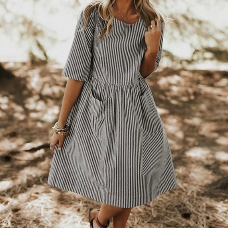 Women Large Size Summer Dress Cotton Neck Round Striped Pocket Loose Dresses