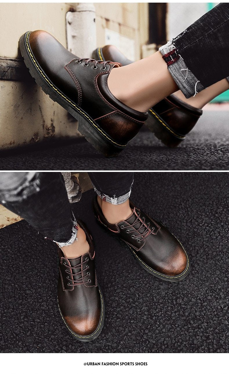 Leather Men Shoes Spring Work Safety Casual Shoes Fashion Flats Oxfords Loafers