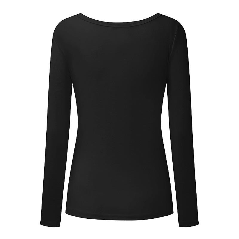 Plus Size Women Fashion Cotton Long Sleeve Casual T-Shirt Tee V-Neck Tops