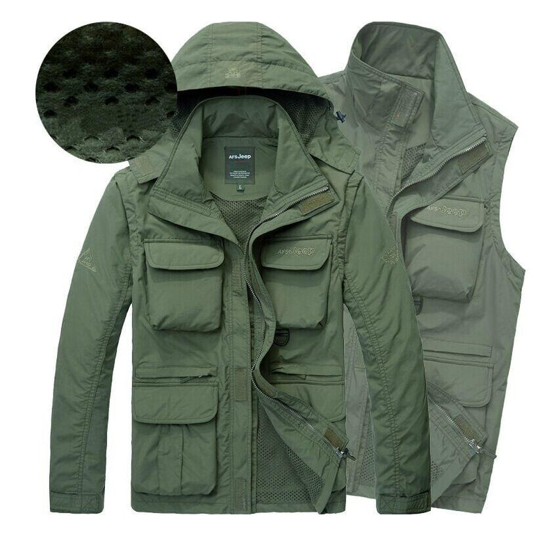 Men Tactical Jacket Autumn Quick Dry 2-in-1 Military Style Army Coat Multi Pockets Hooded Windbreaker Waterproof