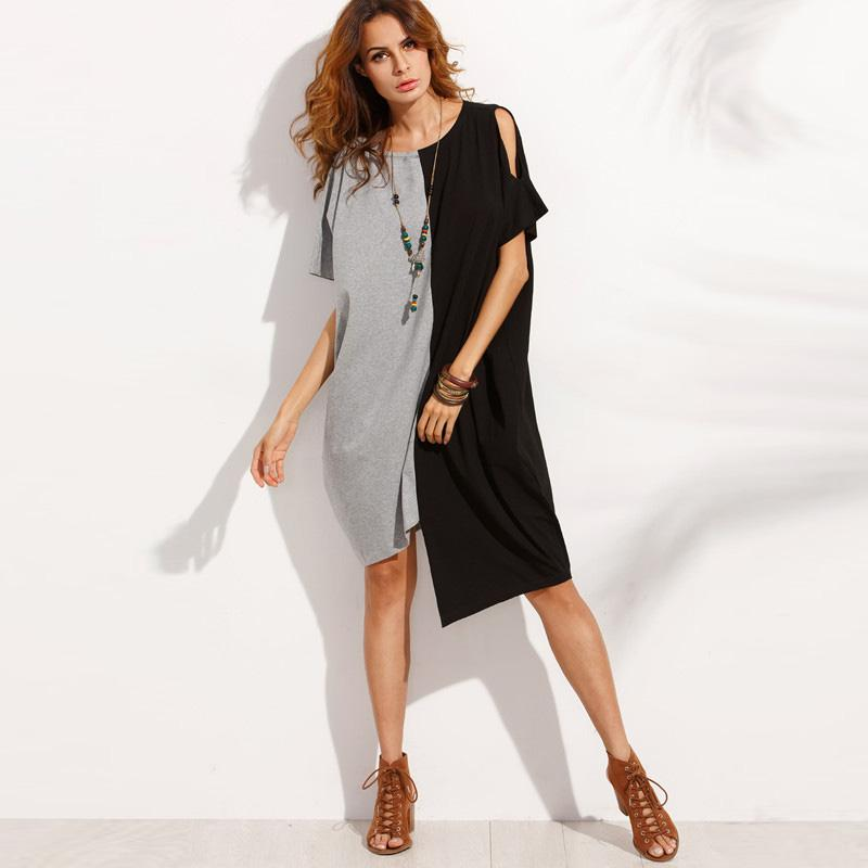 Women Plus Size Casual Blouse Shirt Dress 5XL Loose Short Sleeve Dress