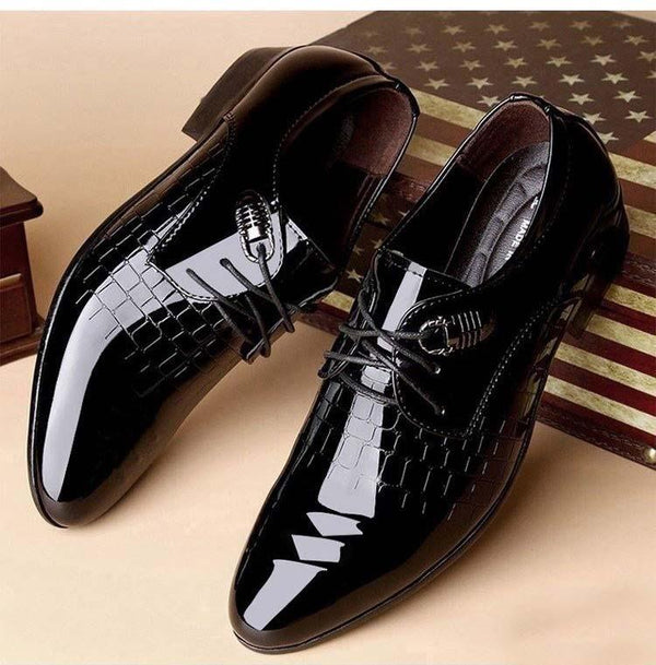 Men Dress Shoe Snake Skin Grain Leather Lace Up Luxury Italian Formal Shoes