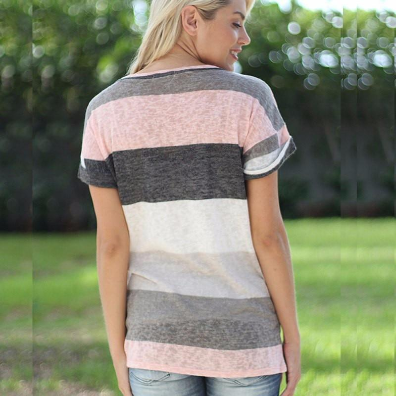 Women Fashion Printed O-Neck Pocket Striped Casual Short Sleeve T-Shirt Tops Tee