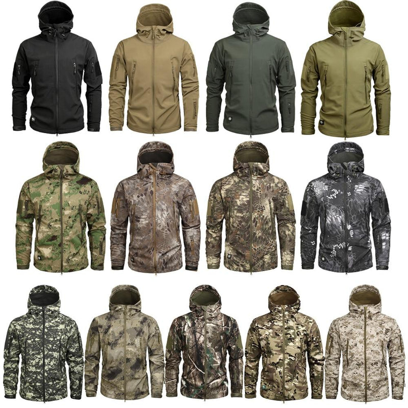 Men's Military Camouflage Fleece Jacket Army Tactical Clothing  Multicam Male Camouflage Windbreakers