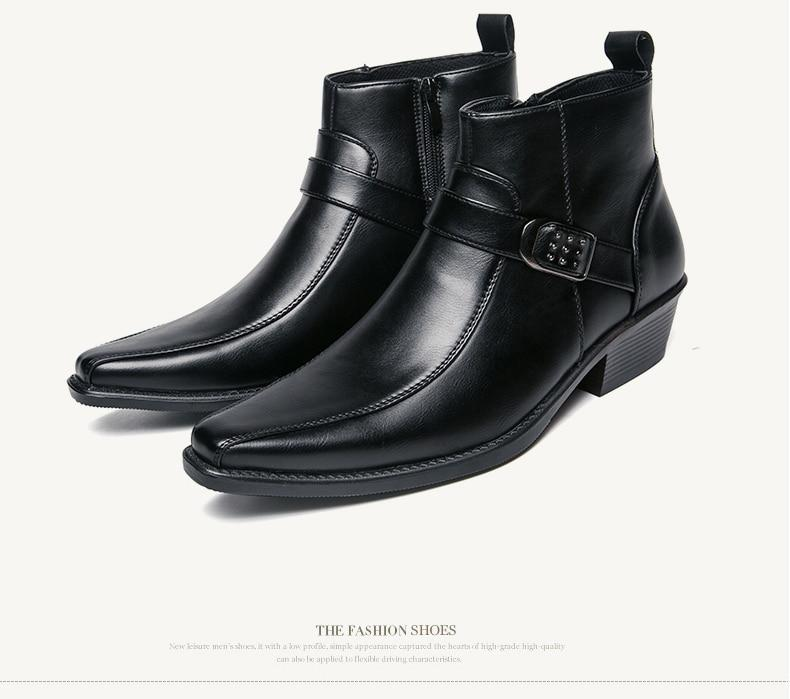 Men's Ankle Zip Leather Boots \Autumn British Retro Men Motorcycle Boots Black Buckle  Casual Shoes