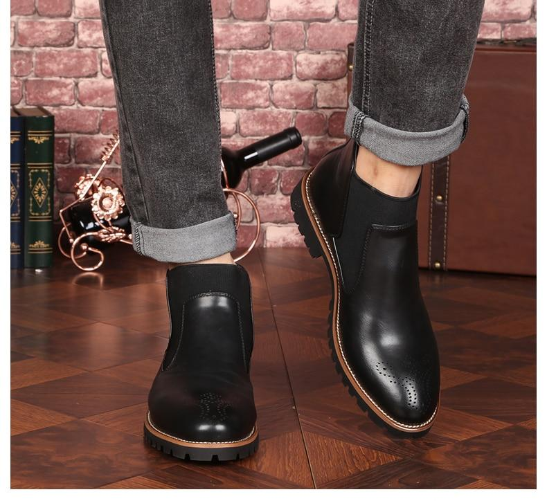 Genuine Leather Ankle Chelsea Boots Men Shoes With Fur Warm Vintage Classic Casual Motorcycle Boot