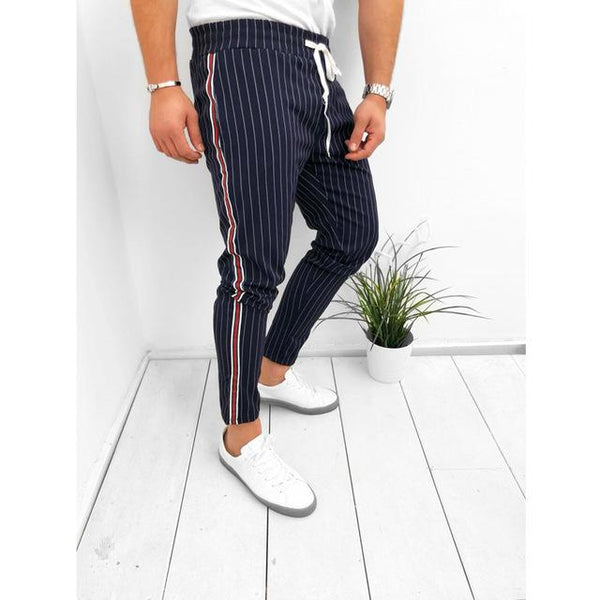 Men's Casual Pants Fashion Jogger Harem Sweatpants Stripe Pencil Pants Trousers Drawstring Elastic Waist Bottoms