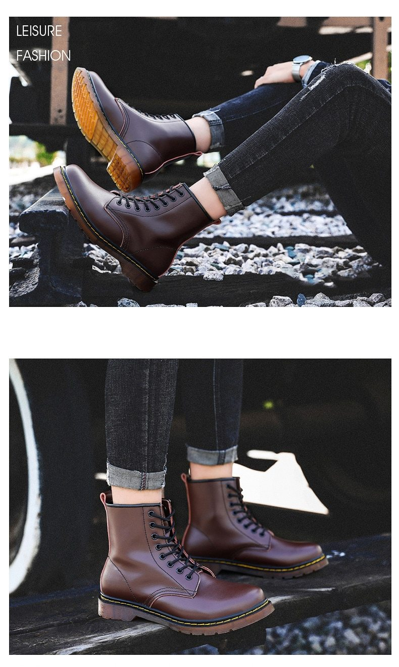 Men's Leather Ankle Boots Fashion Motorcycle Outdoor Working Shoes Autumn Winter Boots
