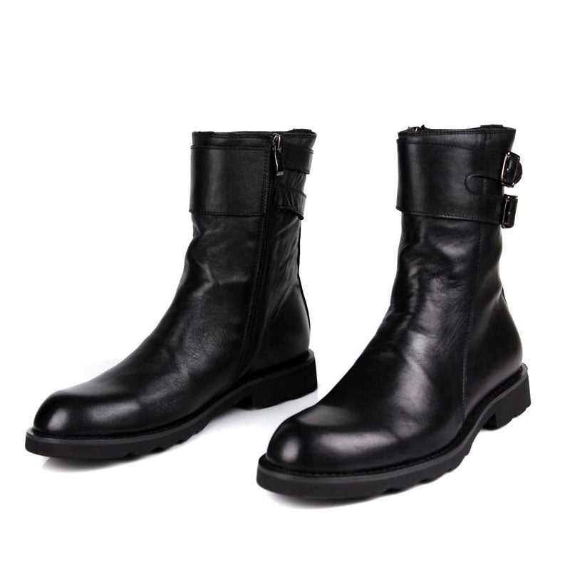 Buckle Design Mens Punk Motorcycle Boots Luxury Genuine Leather Flats Shoes Male High Top Casual Zip  Boots