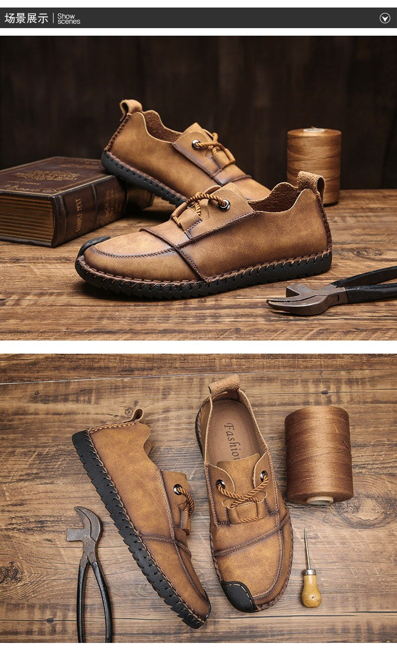 Men Plus Size Casual Split Leather Flats Loafers Shoes
