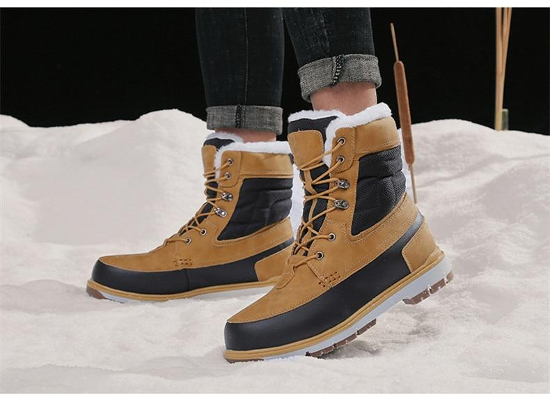 Men Warm Plush Fur Casual Waterproof Ankle Snow Boots