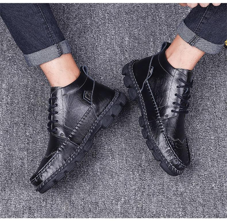 Cow Split Leather Men Boots Comfortable Boots Men Footwear Rubber Ankle Boots Men's Shoes