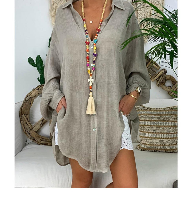 Womens Cotton Linen Plus Size Long Sleeve Turn Down Collar Tunic Button Thin Shirts Casual Blouse Tops